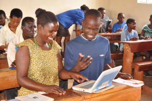 Teachers enjoying a typing exercise